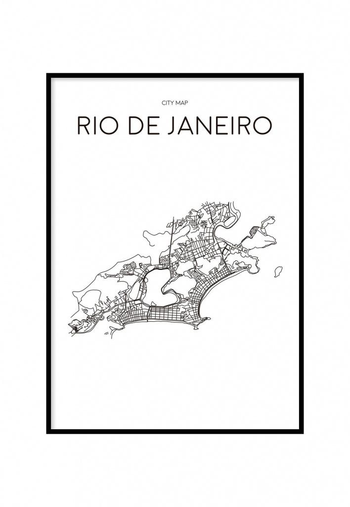 Rio De Janeiro Minimalist Map White, Printable In 2019 | C A S A - Printable Map Of Rio De Janeiro