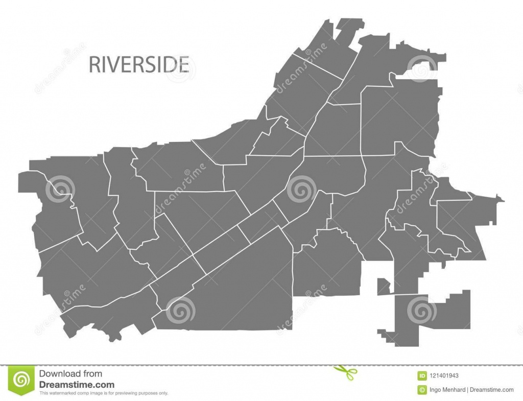 Riverside California City Map With Neighborhoods Grey Illustration - Riverside California Map