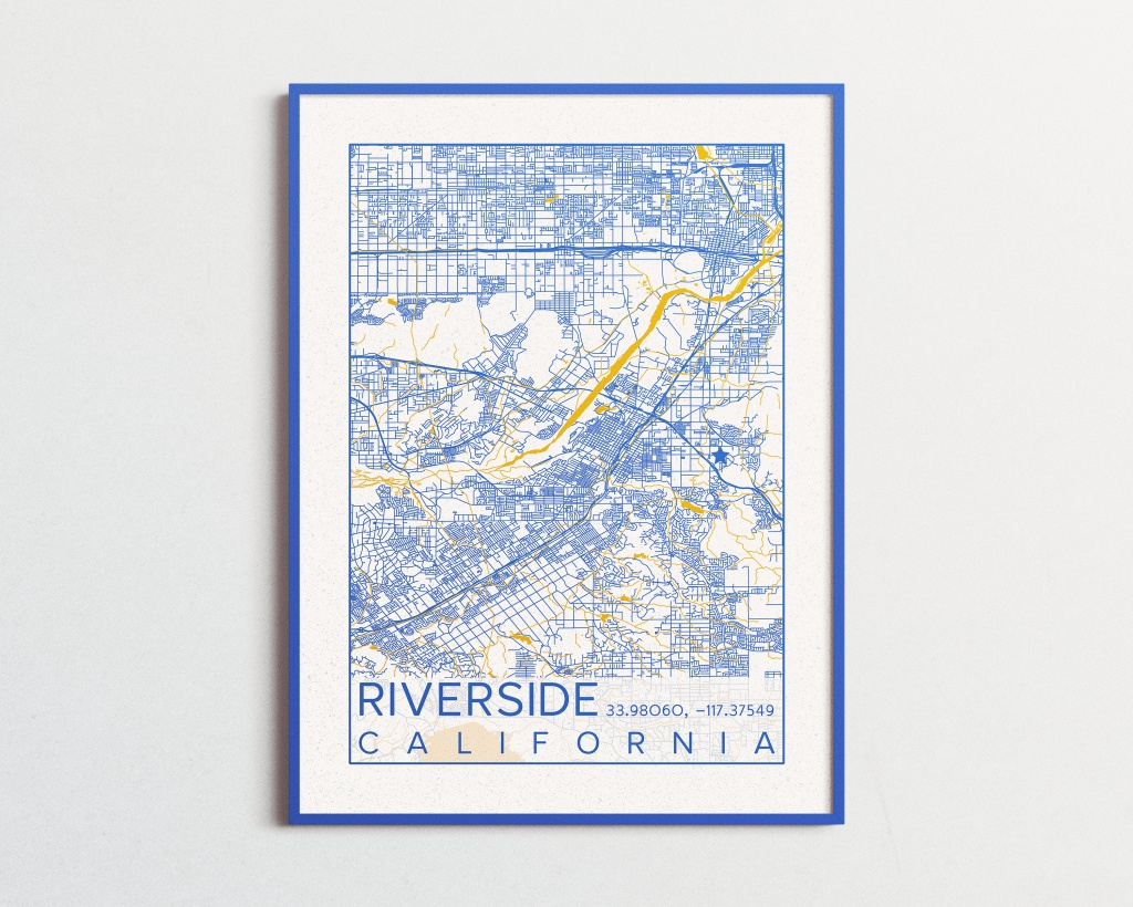 Riverside California Map Uc Riverside Poster Print City Map - Printable Map Of Riverside Ca
