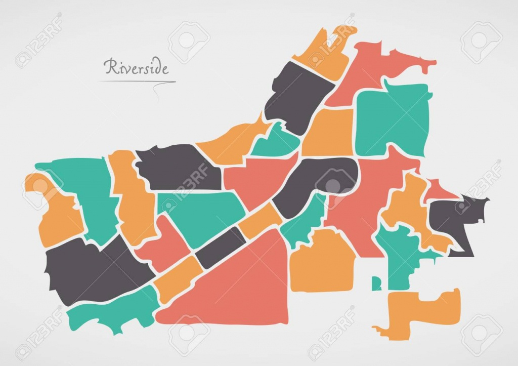 Riverside California Map With Neighborhoods And Modern Round.. - Riverside California Map