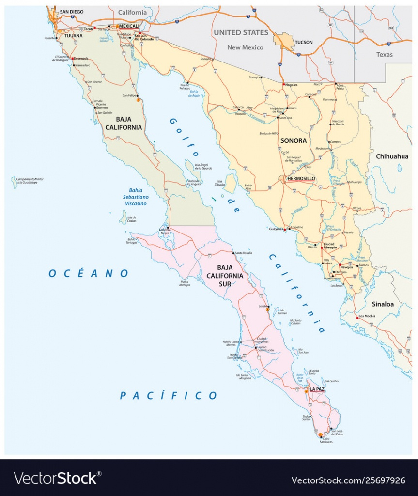 Road Map Mexican States Sonora And Baja California - Baja California Road Map