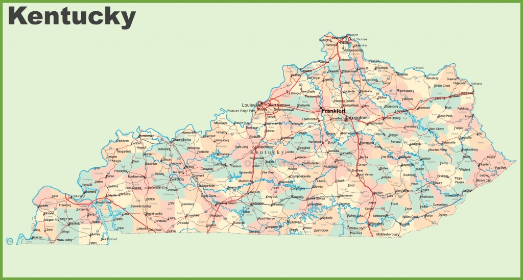 Road Map Of Kentucky With Cities - Printable Map Of Kentucky Counties
