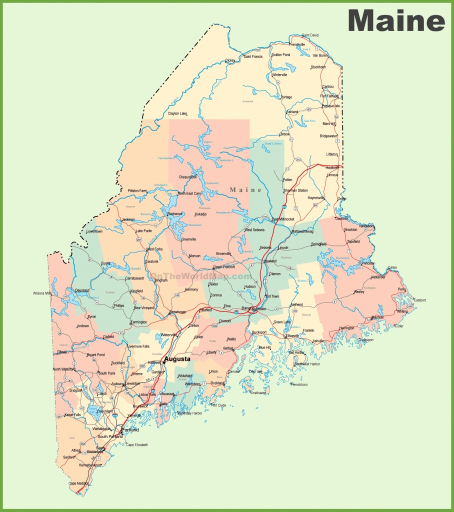 Road Map Of Maine With Cities - Printable Road Map Of Maine