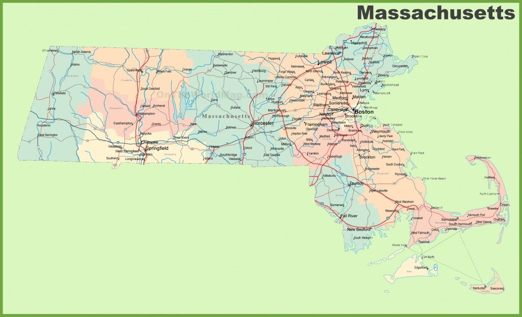 Road Map Of Massachusetts With Cities - Printable Map Of Massachusetts