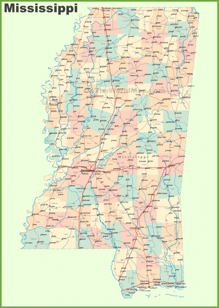 Road Map Of Mississippi With Cities | State Maps | Map, Printable - Printable Map Of Mississippi