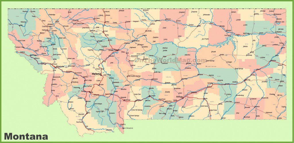 Road Map Of Montana With Cities - Printable Map Of Montana