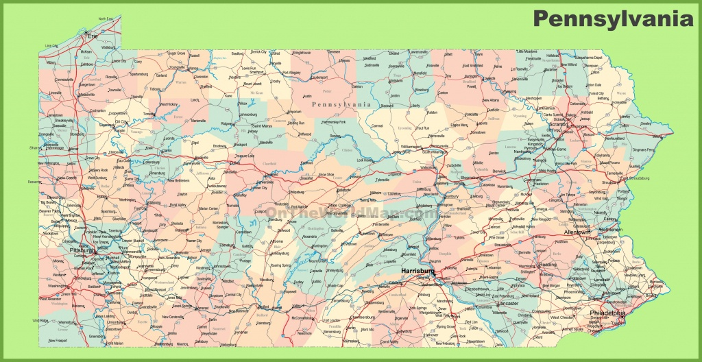 Road Map Of Pennsylvania With Cities - Pa County Map Printable