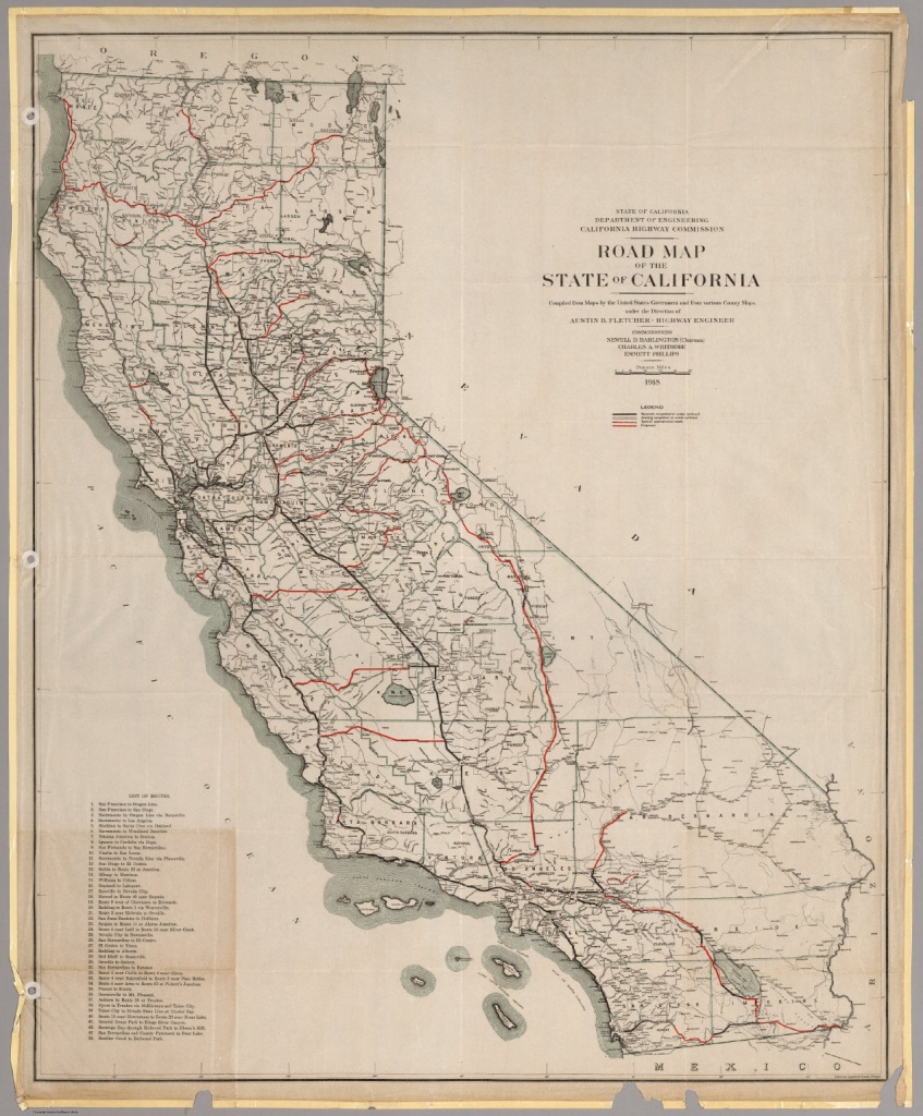 Road Map Of The State Of California, 1918. - David Rumsey Historical - Historical Map Of California