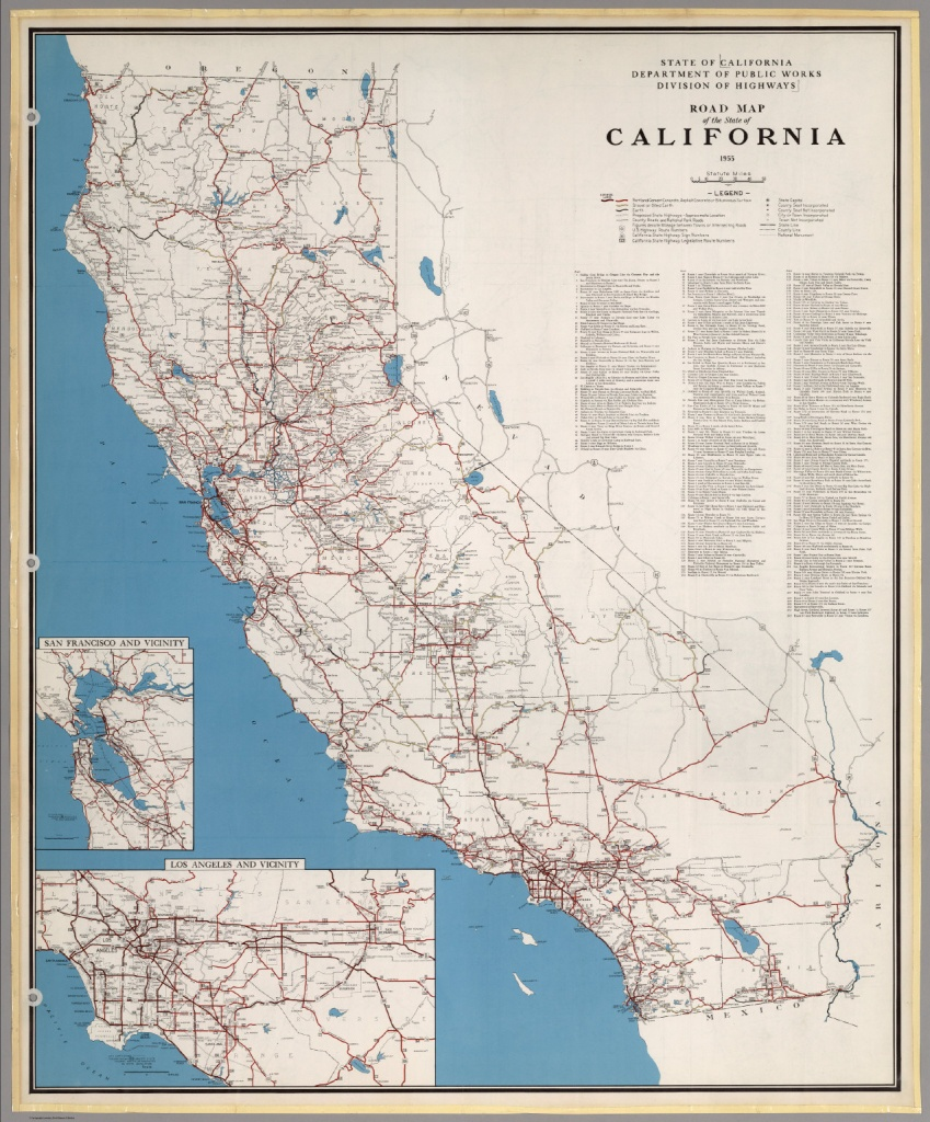 Road Map Of The State Of California, 1955. - David Rumsey Historical - Highway 41 California Map