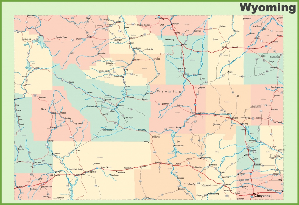 Road Map Of Wyoming With Cities - Printable Map Of Wyoming