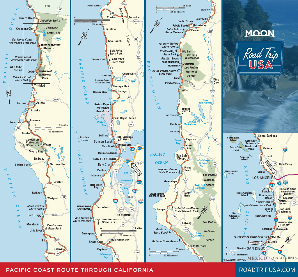 Road Trip California On The Classic Pacific Coast Route   Road Trip Usa - Highway 1 California Map