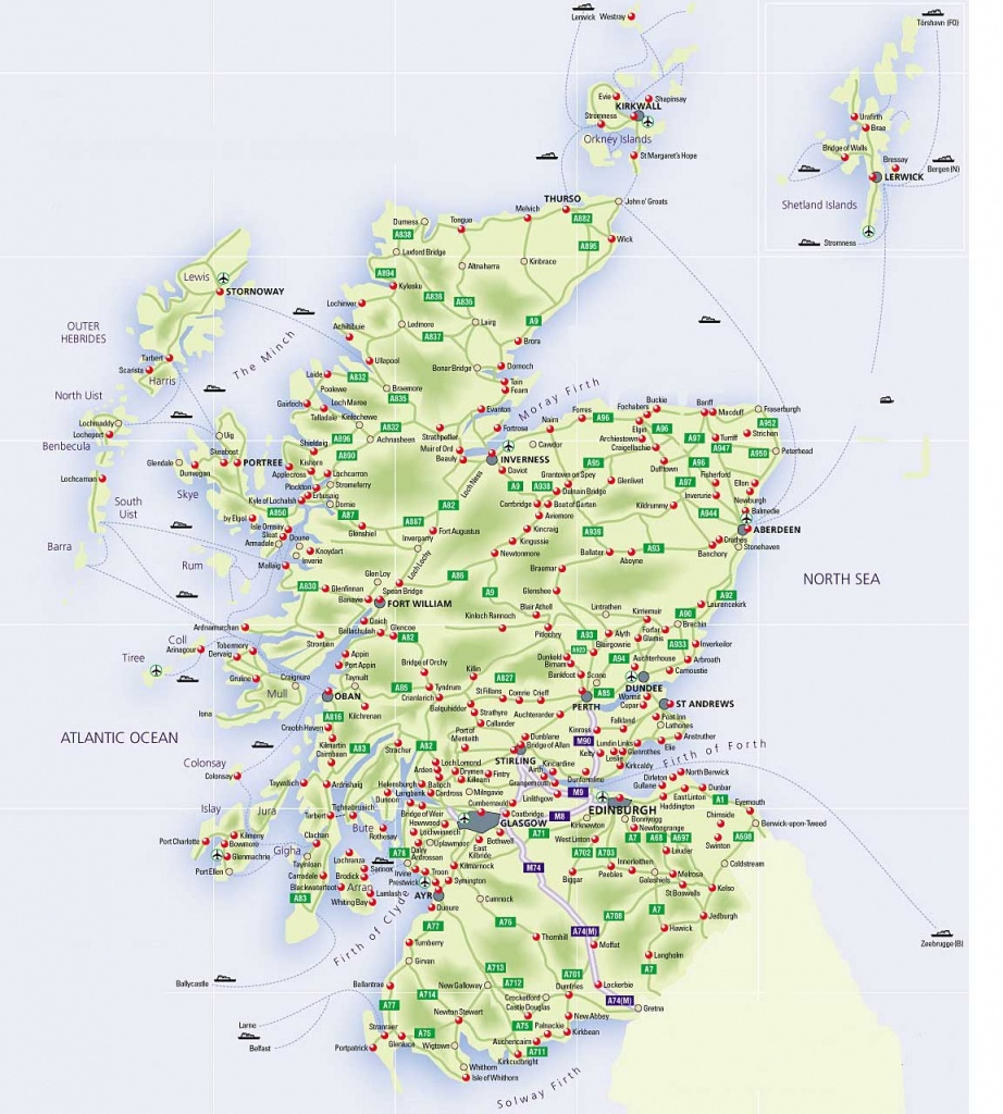 Roadmap Of Scotland – Scotland Info Guide - Printable Map Of Scotland