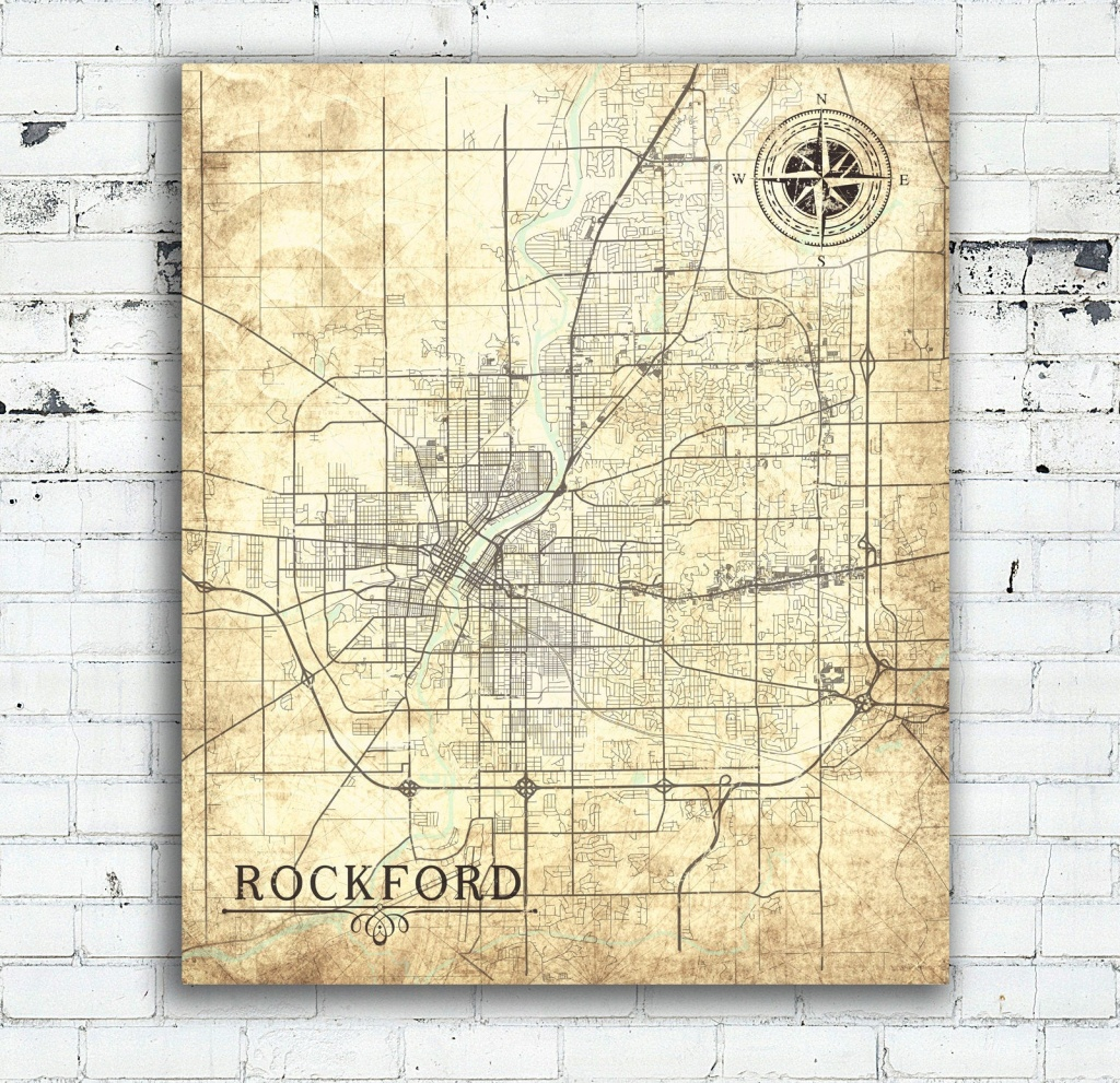 Rockford Il Canvas Print Illinois Il Vintage Map Wall Art Town City - Printable Map Of Rockford Il