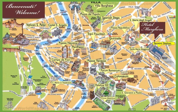 Tourist Map Of Rome Italy Printable