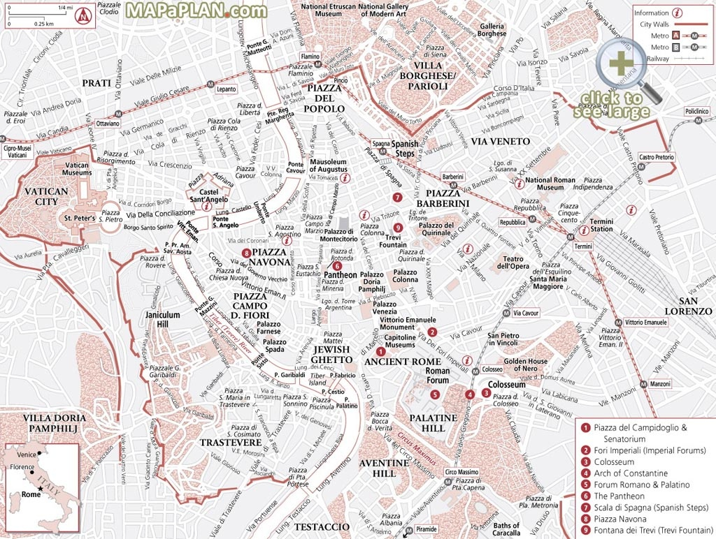 Rome Maps - Top Tourist Attractions - Free, Printable City Street Map - Central Rome Map Printable