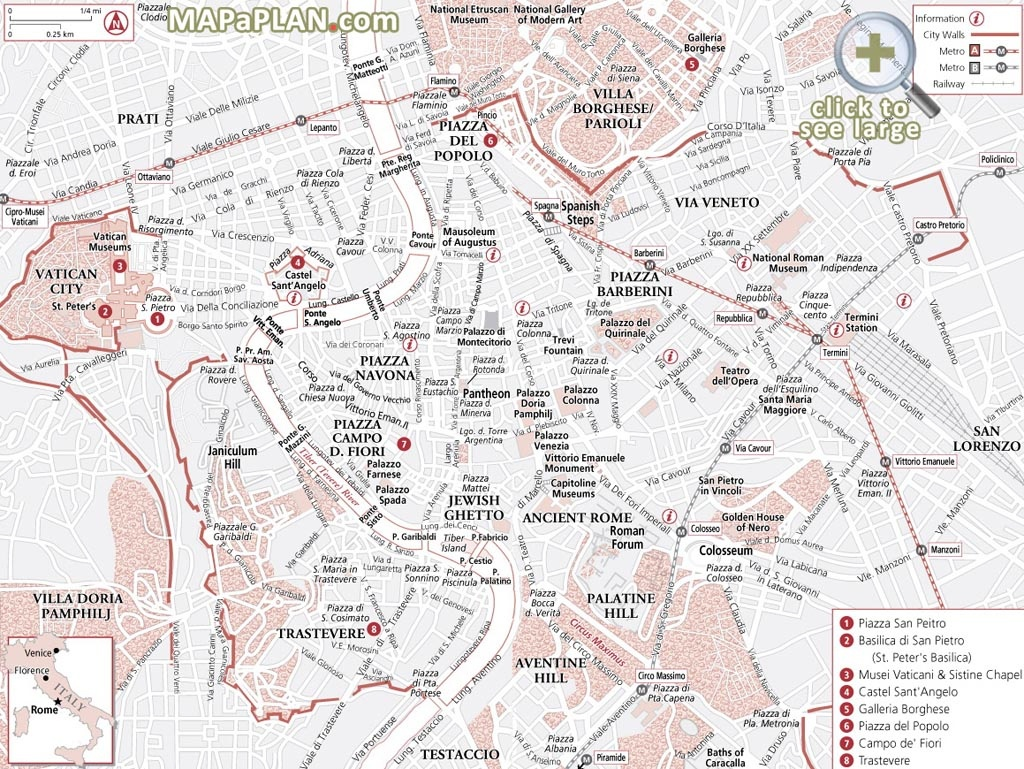 Rome Maps - Top Tourist Attractions - Free, Printable City Street Map - Printable City Map Of Rome Italy