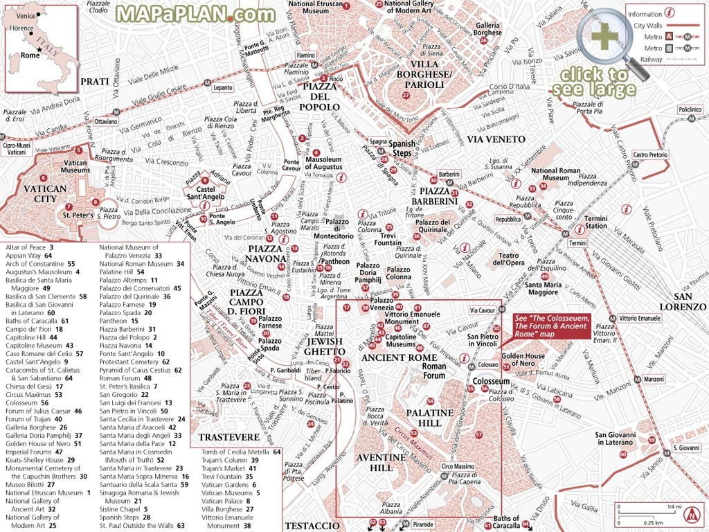 Rome Maps - Top Tourist Attractions - Free, Printable City Street Map - Printable Walking Map Of Rome