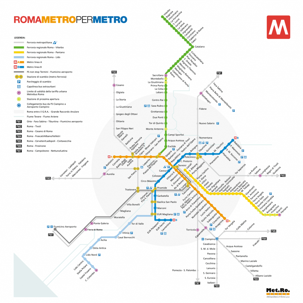Rome Metro - Routes, Hours, Fares & Rome Metro Maps | Cruise Tips In - Printable Rome Metro Map