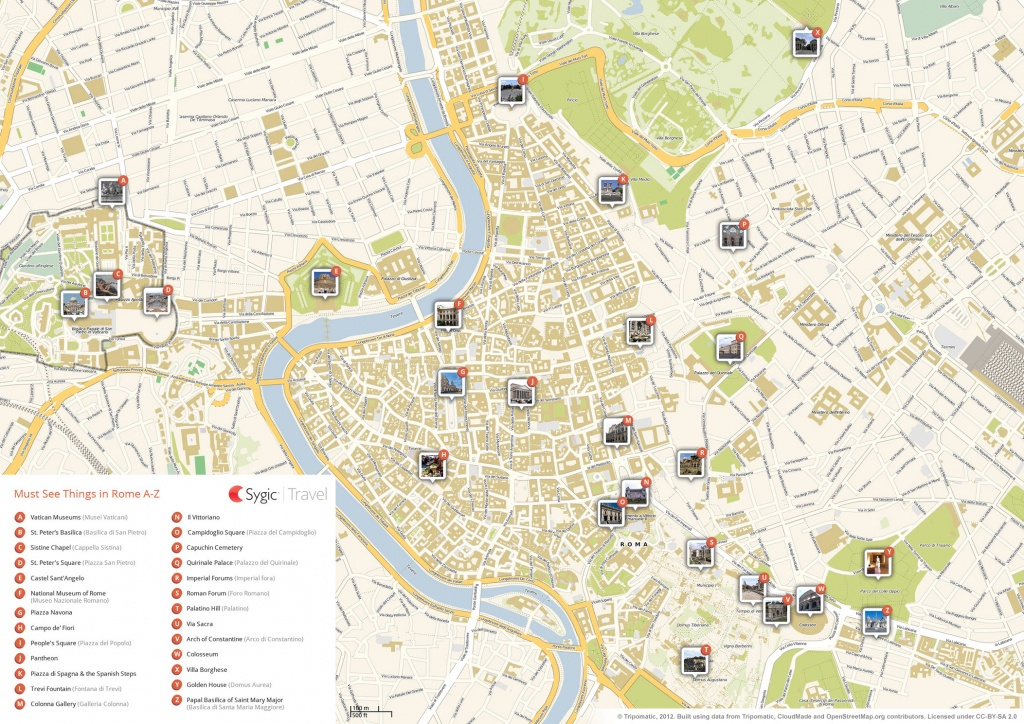Rome Printable Tourist Map | Sygic Travel - Rome Sightseeing Map Printable