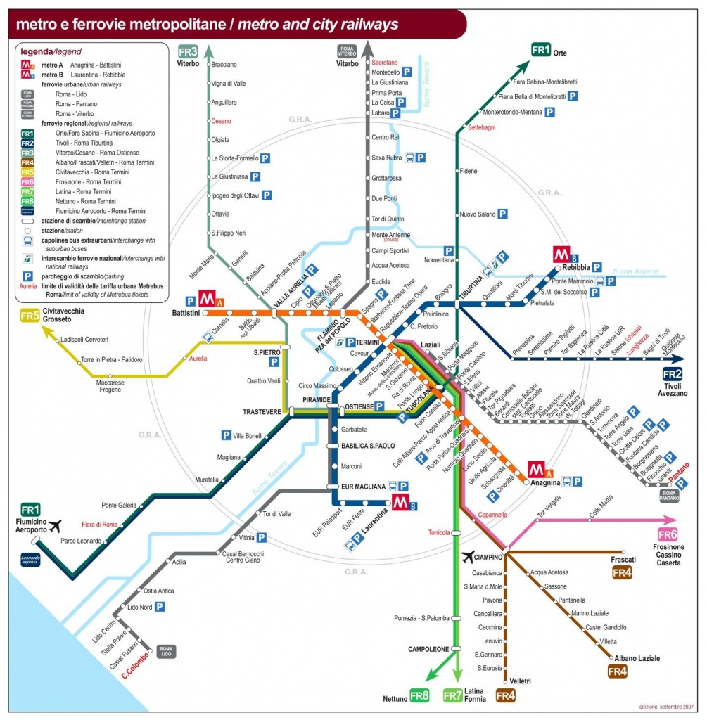 Rome Public Transport Map | Maps | Rome Map, Rome, Subway Map - Printable Rome Metro Map