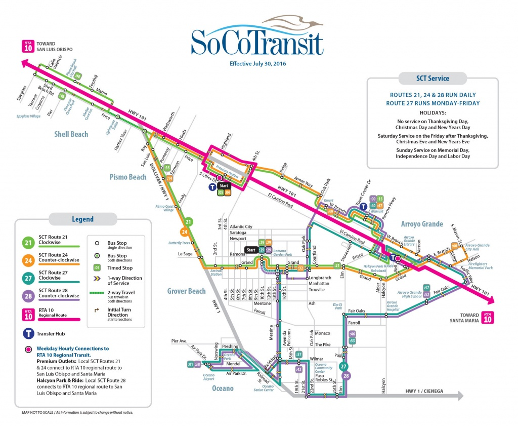 Route 21 Five Cities Loop Clockwise – San Luis Obispo Regional - Pismo Beach California Map
