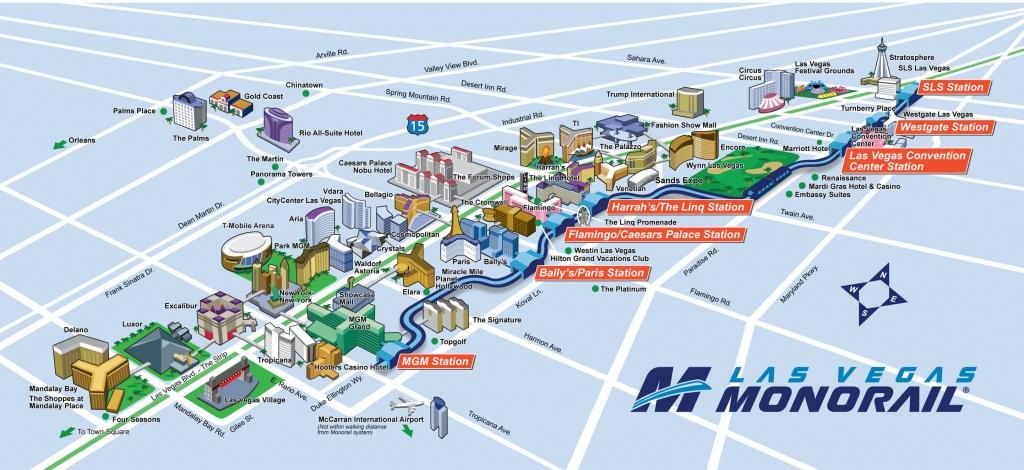 Route Map | Las Vegas Monorail - Las Vegas Strip Map 2016 Printable