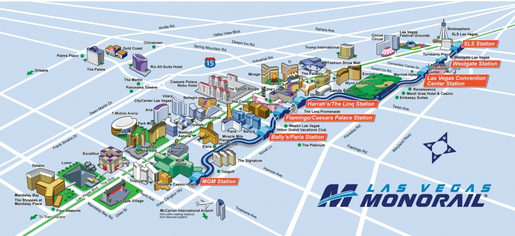 Route Map | Official Las Vegas Monorail Map - Free Printable Map Of The Las Vegas Strip