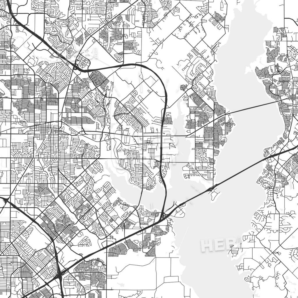 Rowlett, Texas - Area Map - Light   Hebstreits Sketches - Rowlett Texas Map