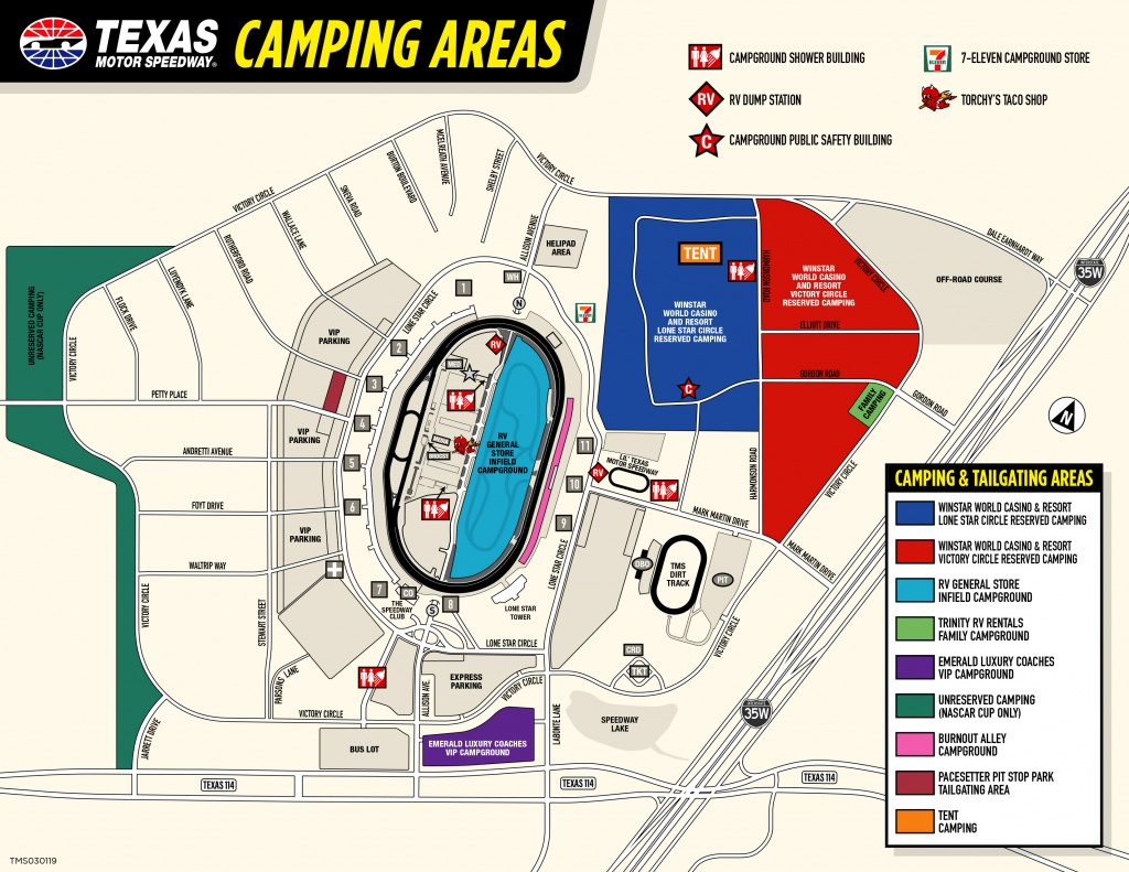 Rv General Store Infield Campground - Texas Motor Speedway Track Map