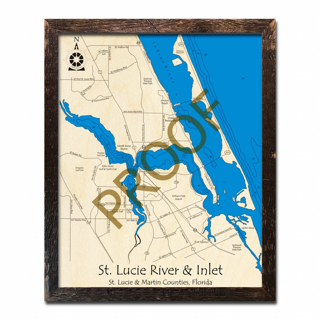 Saint Lucie River And Inlet, Fl Nautical Wood Maps - Hutchinson Florida Map