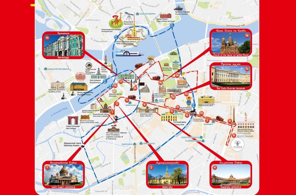 Saint Petersburg Attraction Map - Map Of St Petersburg Russia - Printable Map Of St Petersburg Russia