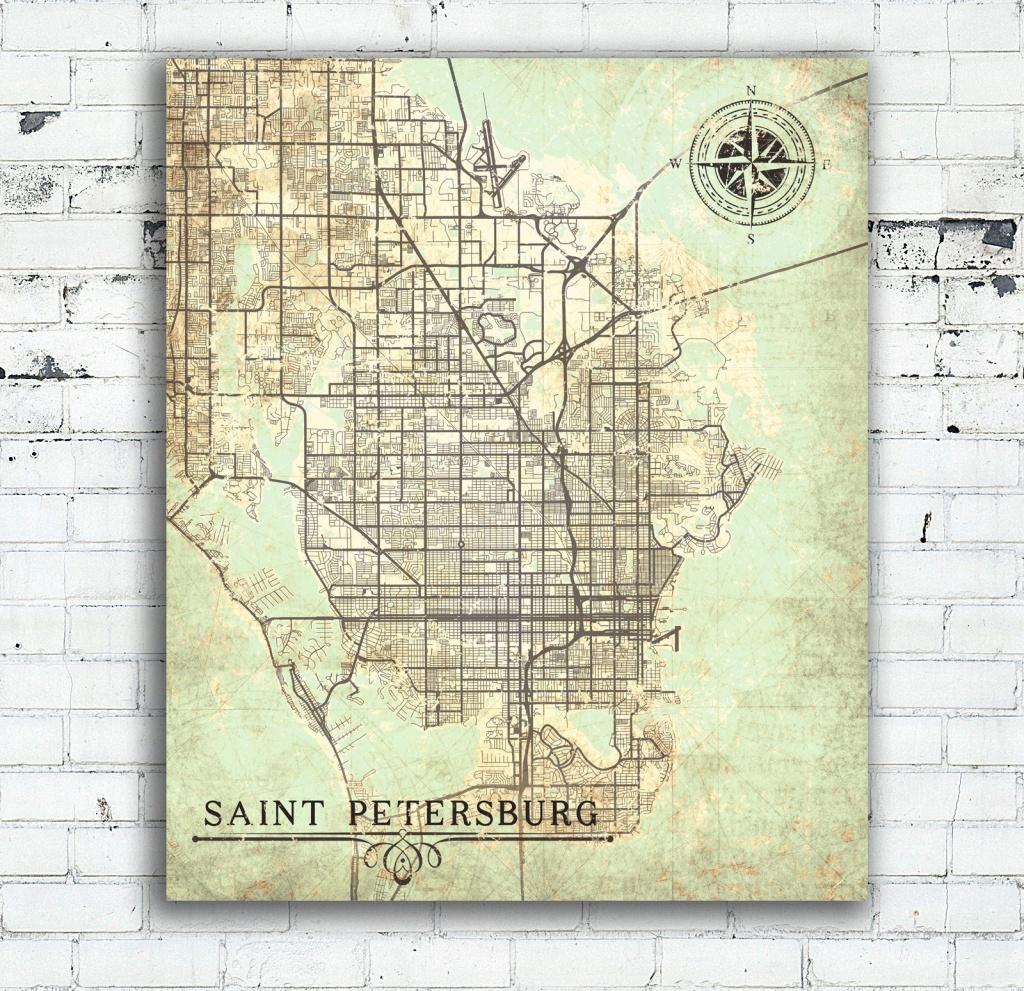 Saint Petersburg Canvas Print Florida Fl Vintage Map St Petersburg - City Map Of St Petersburg Florida