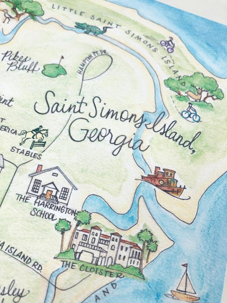 Saint Simons Island, Georgia Map 8X10 Art Print - Printable Map Of St Simons Island Ga
