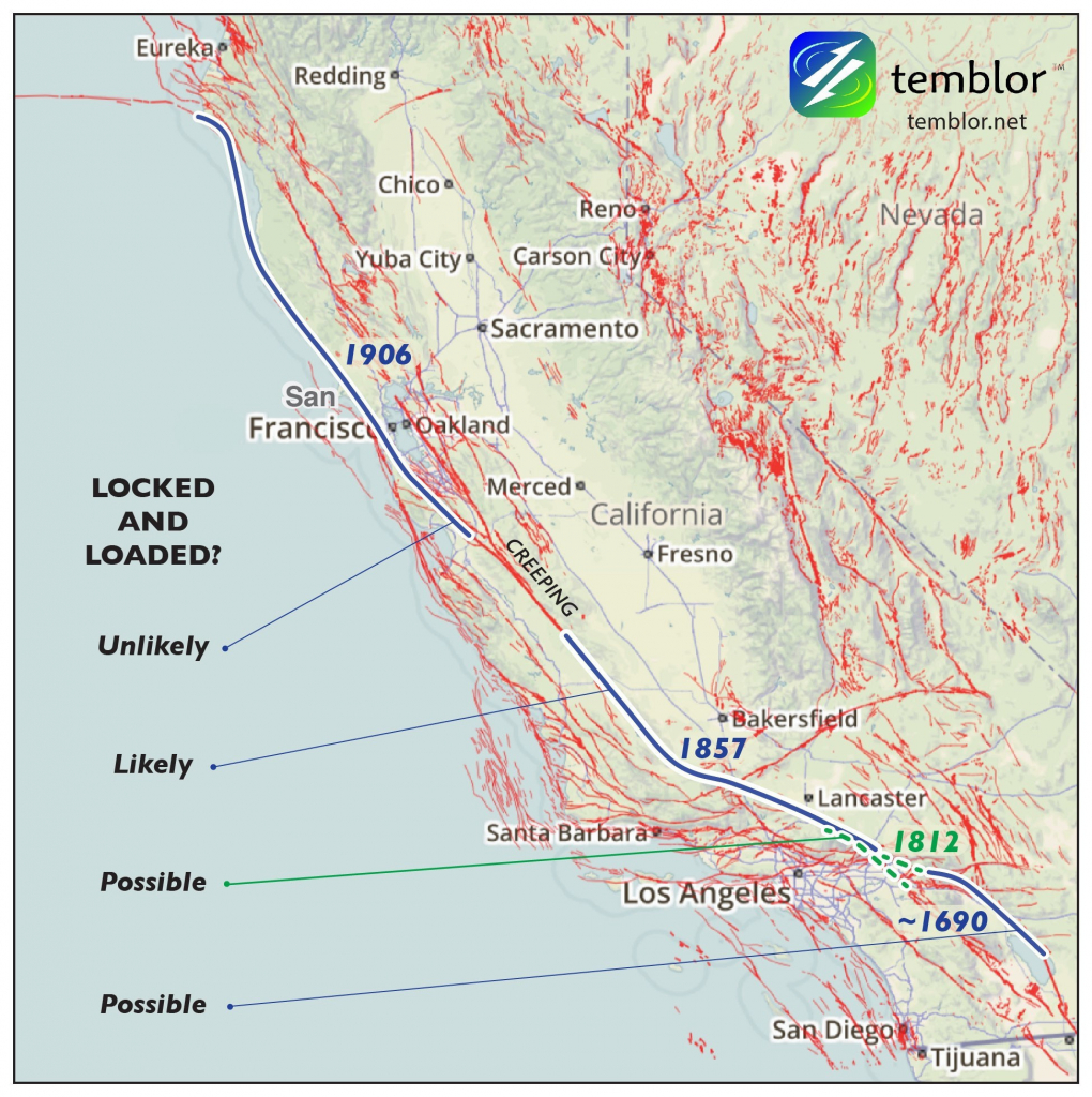 San Andreas Fault On Us Map Socal Fault Map Beautiful Map San - Map Of The San Andreas Fault In Southern California