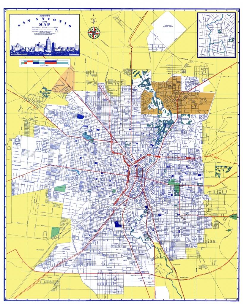 San Antonio Texas - Ashburn 1950 - 23 X 28.71 - Detailed Map Of San Antonio Texas