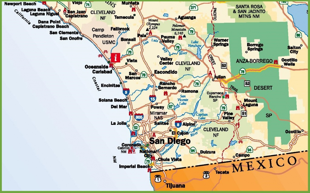San Diego Area Road Map - Printable Map Of San Diego