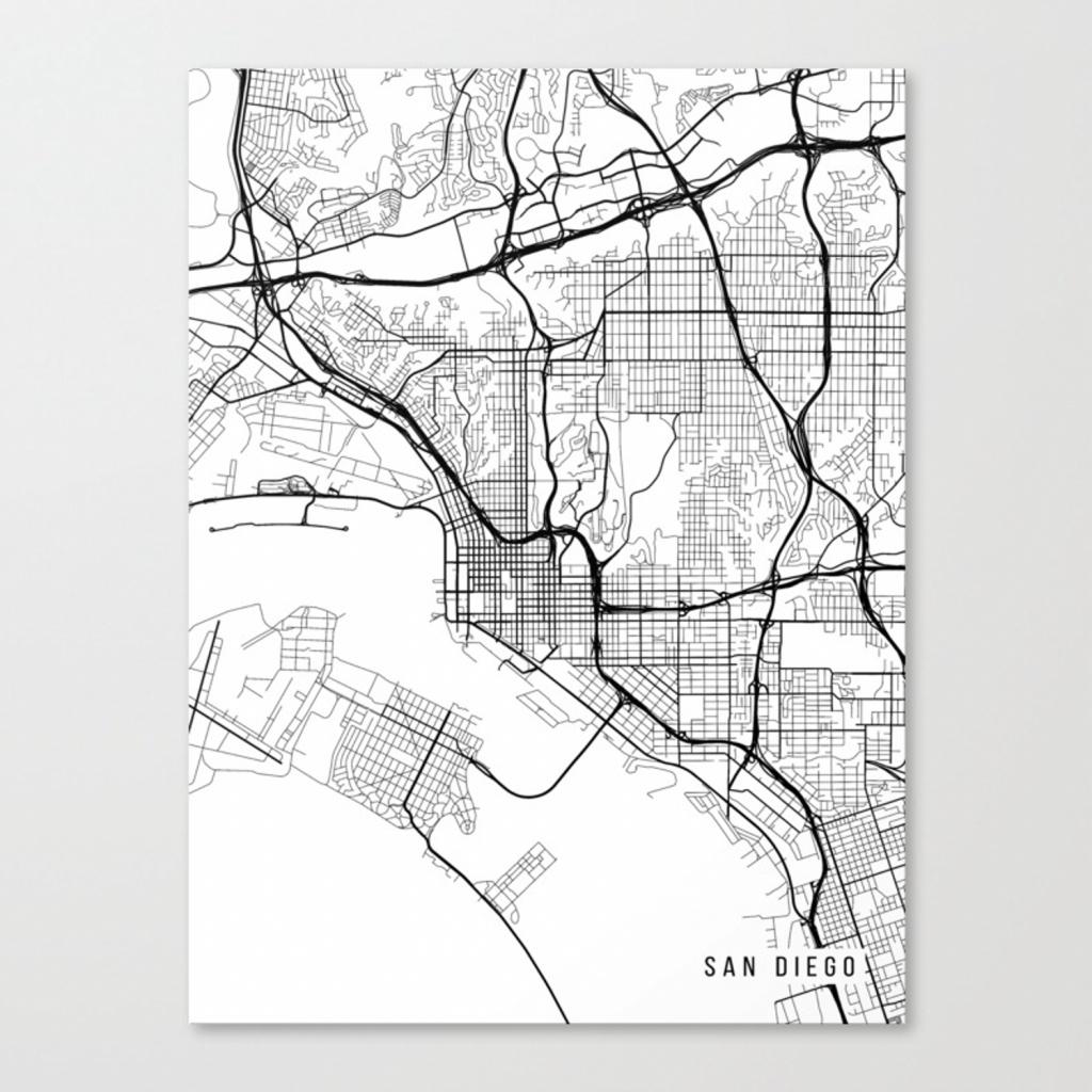 San Diego Map, California Usa - Black & White Portrait Canvas Print - California Map Black And White