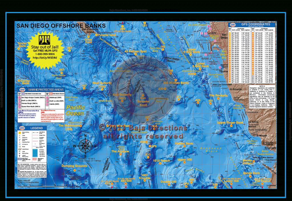 San Diego Offshore Banks - Baja Directions - California Fishing Map