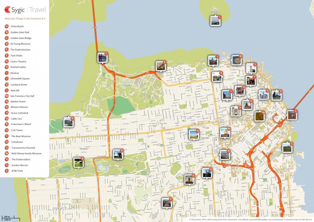 San Francisco Printable Tourist Map | Sygic Travel - Printable Map Of San Francisco Downtown