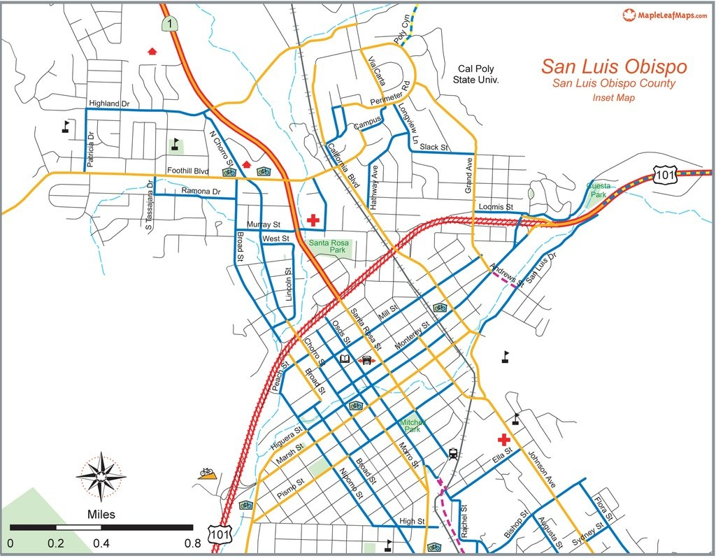 San Luis Obispo City Bike Map - Maplets - San Luis Obispo California Map