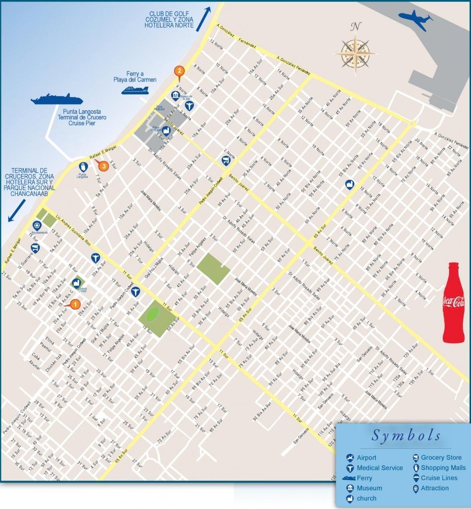 San Miguel De Cozumel Tourist Map - Printable Map Of Cozumel Mexico