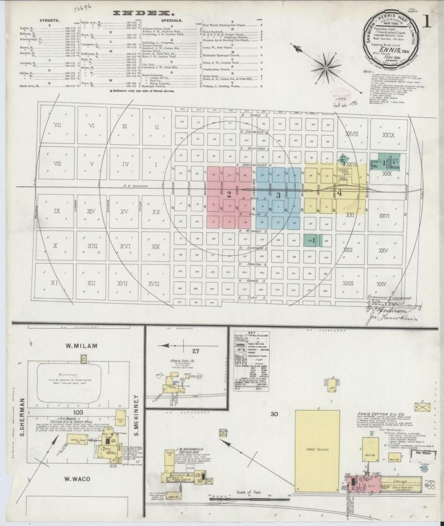 Sanborn Maps, Ellis County, Texas, Ennis, Available Online | Library - Ennis Texas Map