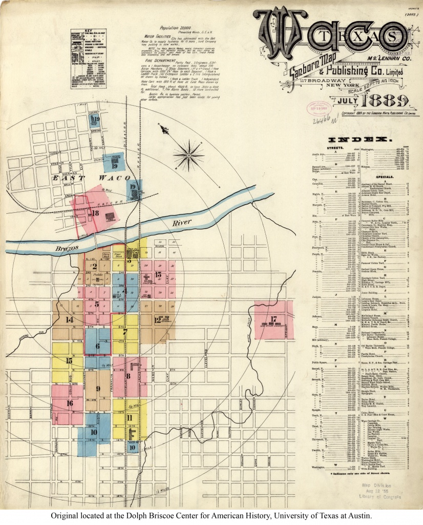 Sanborn Maps Of Texas - Perry-Castañeda Map Collection - Ut Library - Printable Map Of Waco Texas