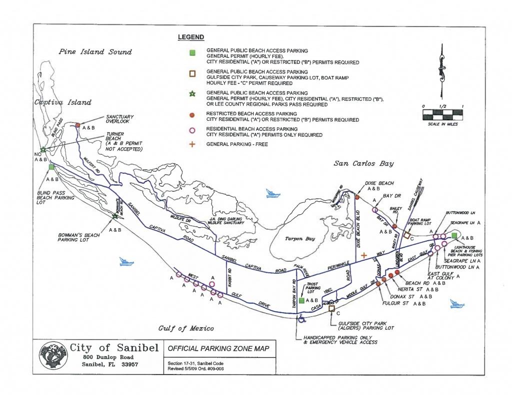 Sanibel Captiva Beach Parking Map | Restrooms | Beach Access | I - Street Map Of Sanibel Island Florida