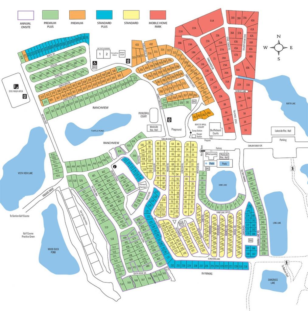 Sanlan Rv & Golf Resort - Florida Tent Camping Map