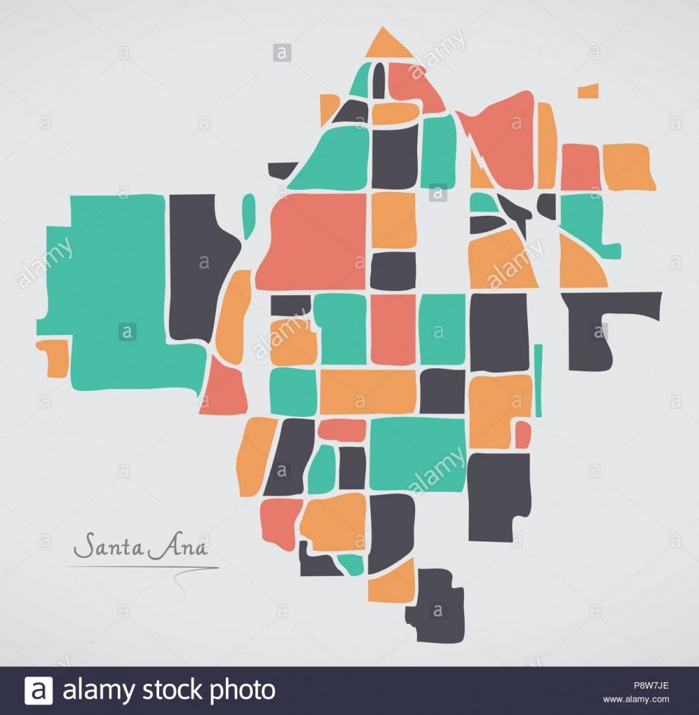 Santa Ana California Map With Neighborhoods And Modern Round Shapes - Santa Ana California Map