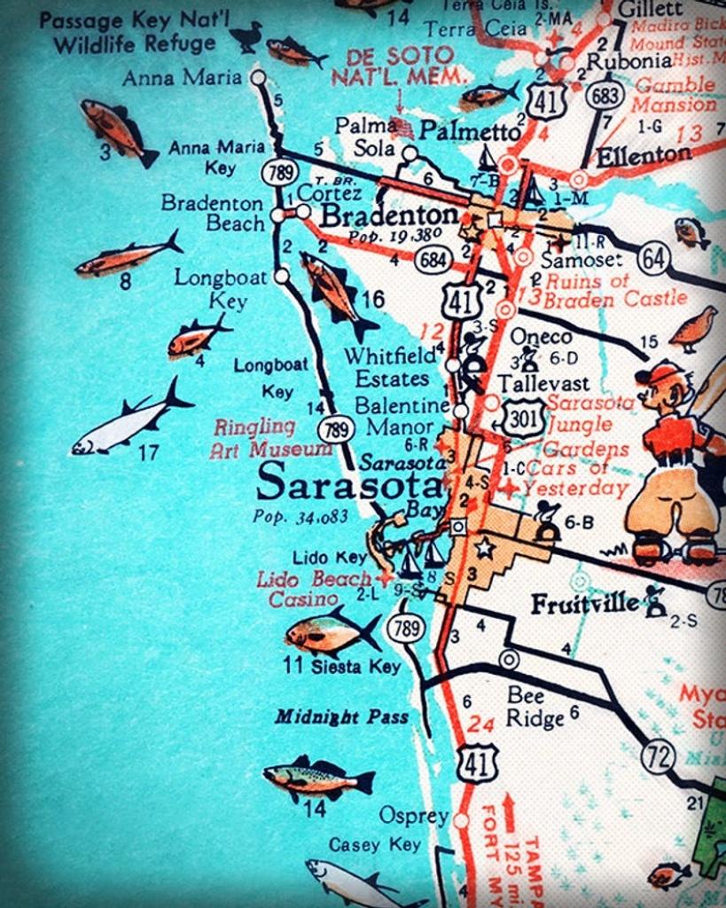 Sarasota Bradenton Retro Beach Map Print Funky Vintage | Etsy - Casey Key Florida Map