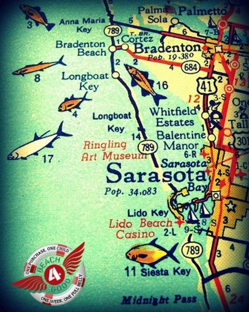 Sarasota Map Art, Vintage Florida Map Art, Sarasota Wall Art Sarasota  Florida Gifts Old Fl Map Vintage Florida Map Print Siesta Key Map Art - Lido Beach Florida Map