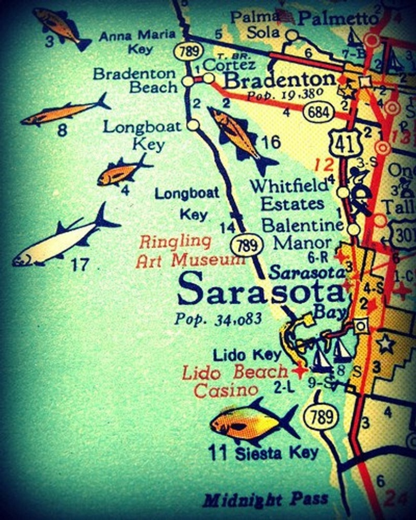 Sarasota Siesta Key Florida 11X14 Vintage Map Photograph Beach | Etsy - Sarasota Beach Florida Map