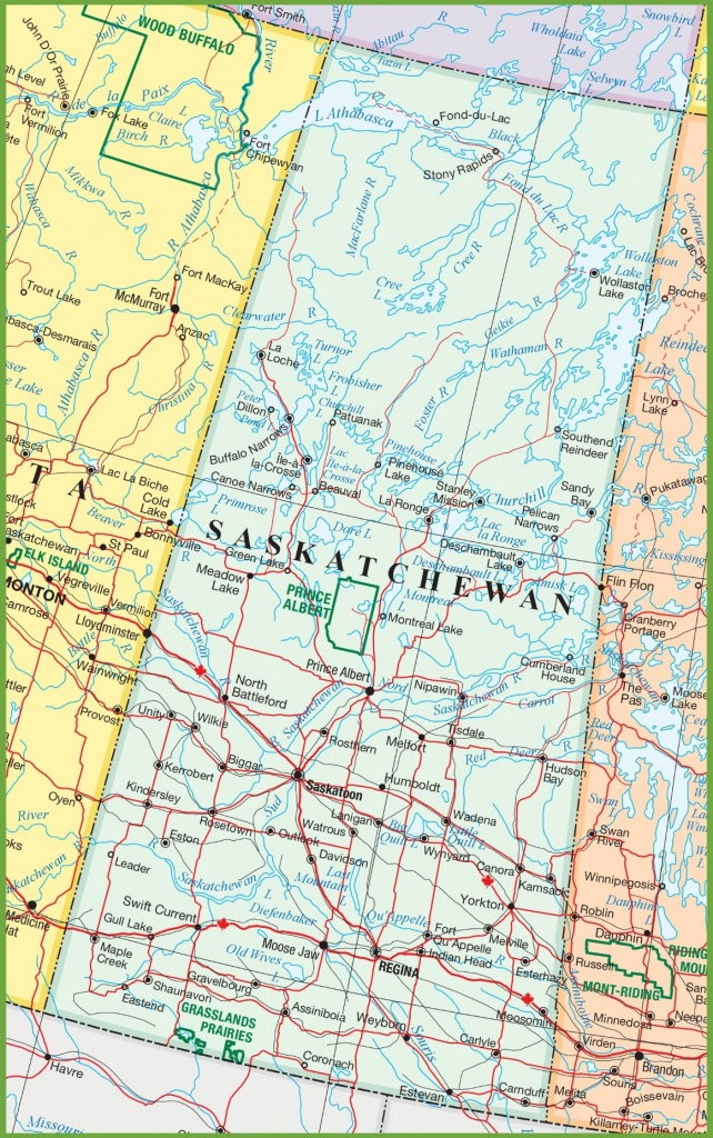 Saskatchewan Road Map - Printable Map Of Saskatchewan